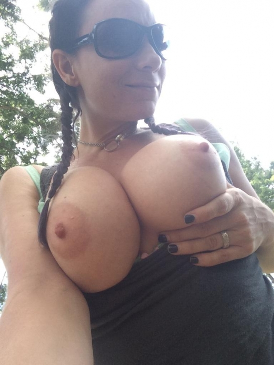 Big tits in public