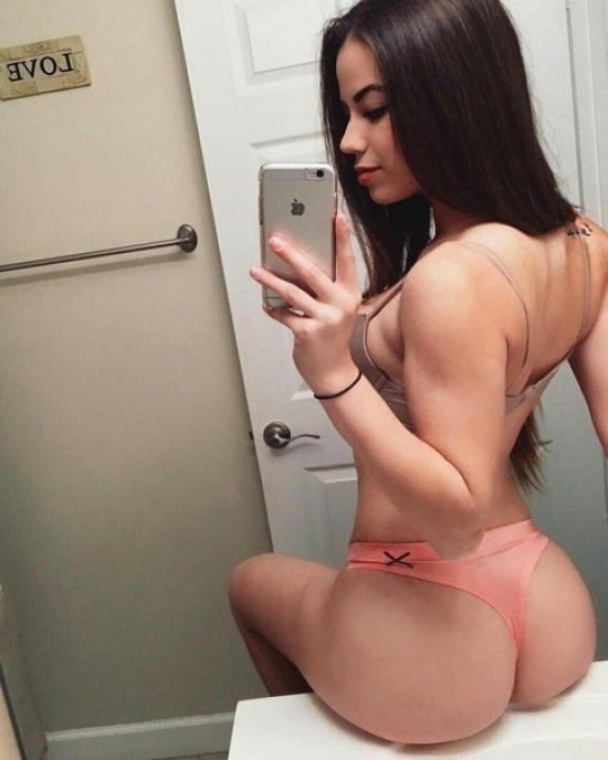 Brunette ass hot thong