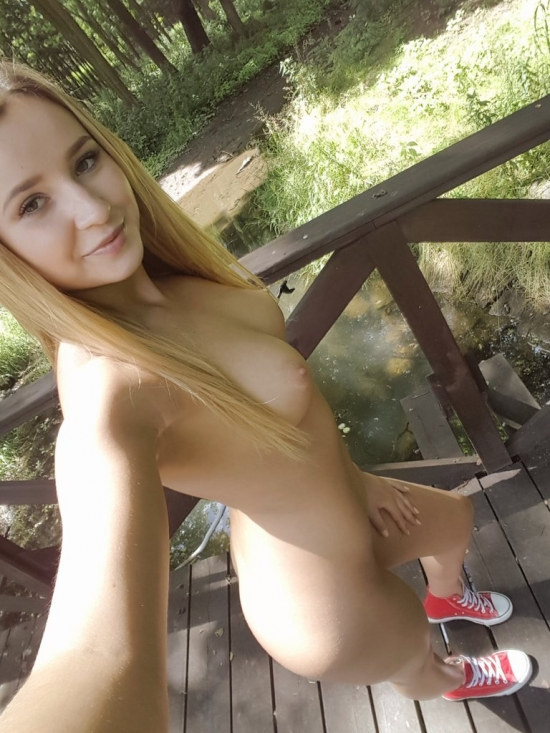 Naked teen outdoor