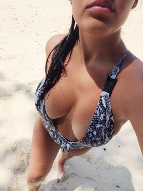 Nice boobs on the beach sexy selfie